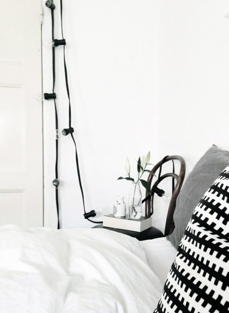 Via Hanna s Inspo Bedroom Black and White Granit String Lights IKEA Ps Thonet Chair ...