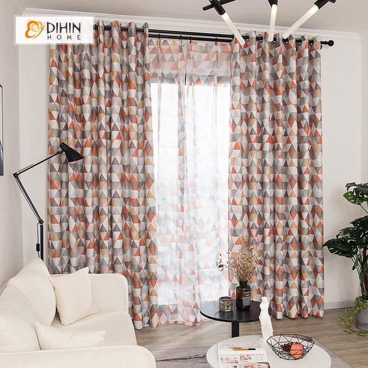 Dihin Home Triangle Red Printed Blackout Grommet Window Curtain For Living Room 52x63 Inch 1 Panel Curtains Living Room Curtains Modern Curtains #printed #living #room #curtains