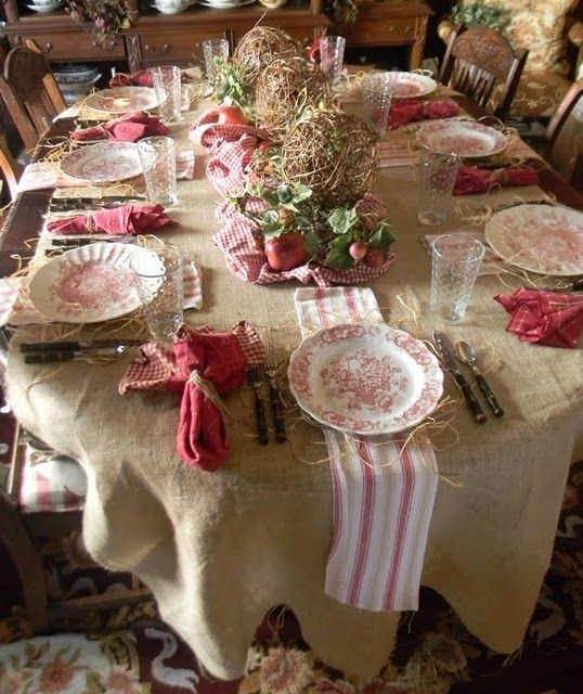 Country table (yute y ginghan rojo) c/pajas