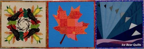 """Autumn quilts in the 12 times 12"""" by 12"""" series"""