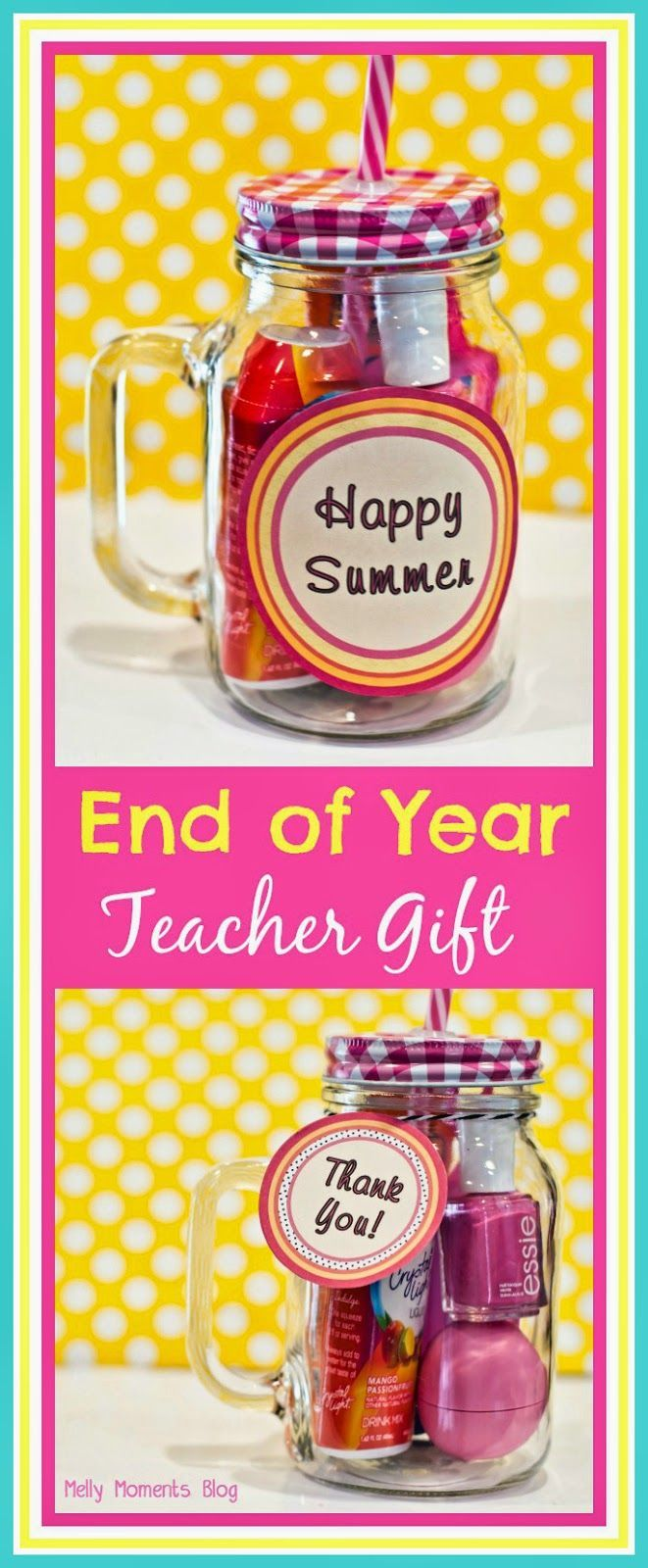 Teacher Appreciation Day or End of School Year Gift! Students can help their teacher SPLASH INTO SUMMER with this easy and affordable gift jar! Free printable tags included. (Melly Moments Blog)
