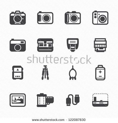 Kamerasymbole und Kamerazubehör Symbole mit weißem Hintergrund