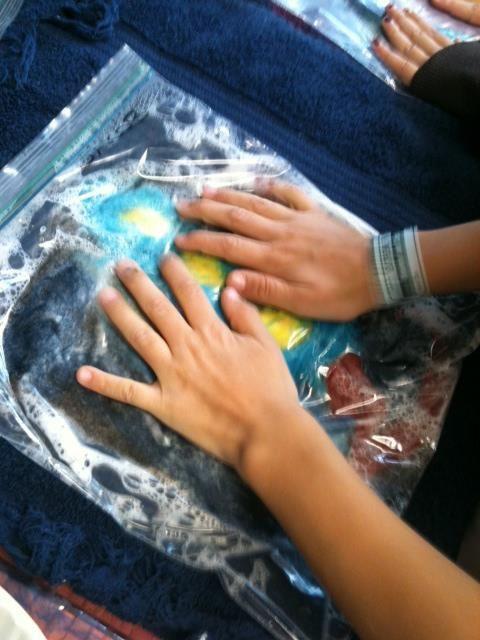 Wet felting in a bag.