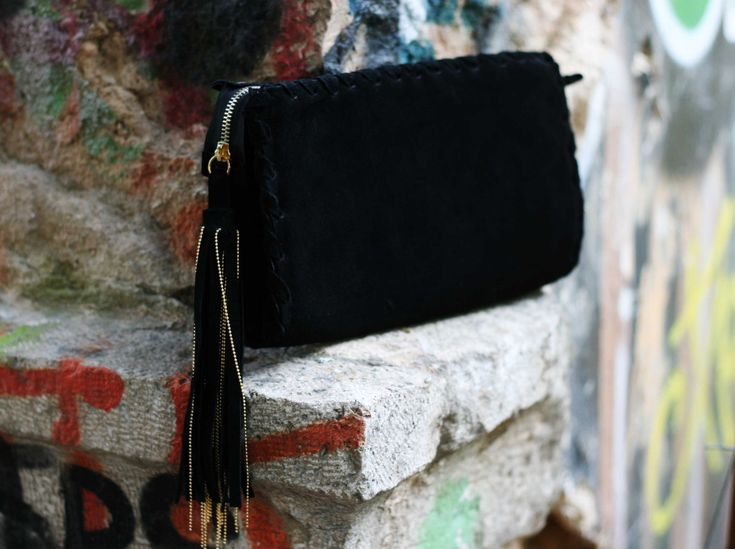Black Clutch Bag - Evening Envelope Purse or Bag in black suede leather - Bag with tassel and chain by EleannaKatsira on Etsy