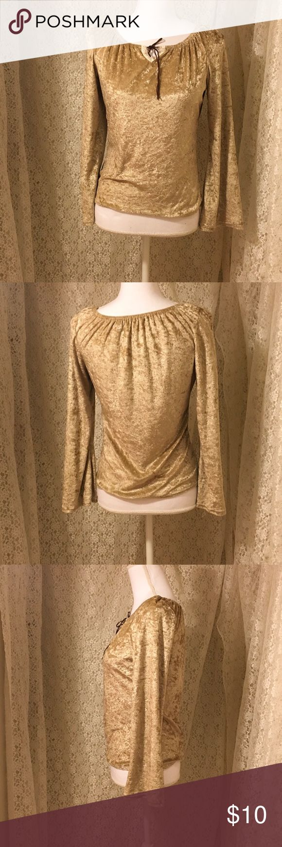 """Gold Long Sleeves Top For Fall Never been worn Top bell sleeves,size tag was cut off,measures 15"""" from armpit to armpit, 21"""" length, light velvet material Tops Blouses"""