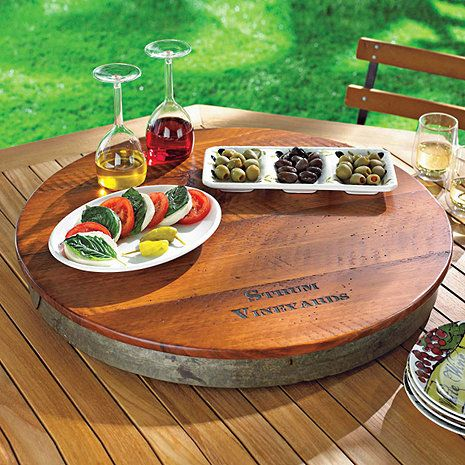Personalized Raised Wine Barrel Lazy Susan at Wine Enthusiast - $149.95