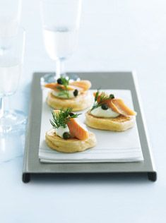 blinis! The Russian way to eat caviar.. But let your imagination run wild and serve with anything from salmon to fruits..