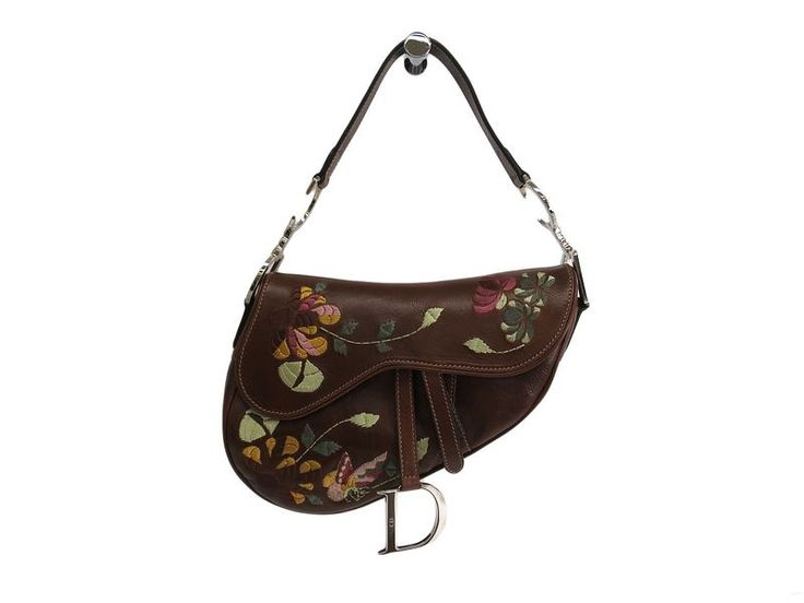 #ChristianDior Saddle Bag Flower Embroidery Leather Brown (BF102399): #eLADY global accepts returns within 14 days, no matter what the reason! For more pre-owned luxury brand items, visit http://global.elady.com