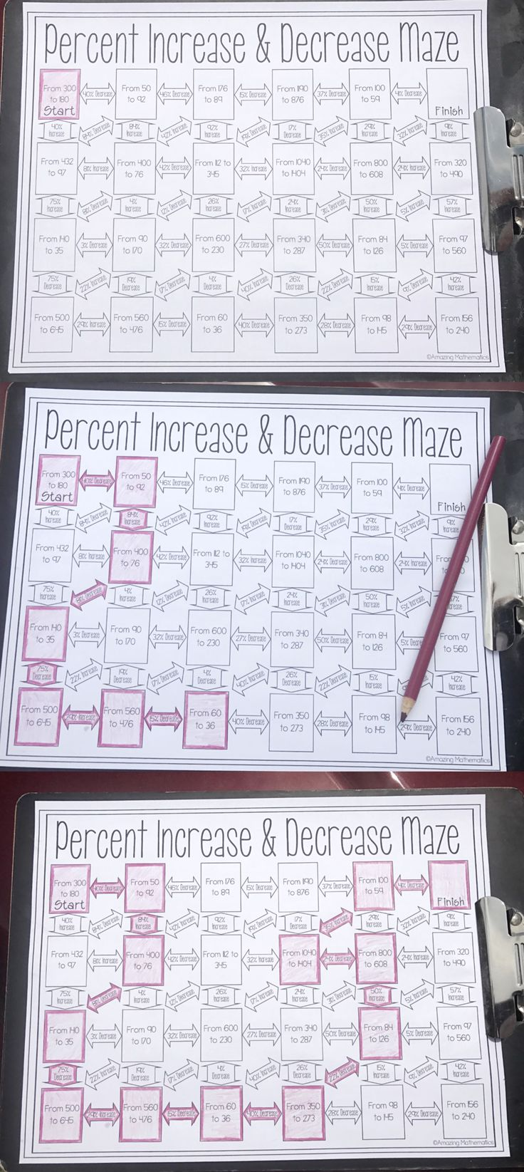 This was the perfect way for my 7th grade math students to practice finding percent increase and percent decrease. My students loved practicing calculating percent change by working their way through this fun middle school math worksheet. After my high school math students completed this math worksheet they were so much better at calculating percent increase, percent decrease, and percent change.