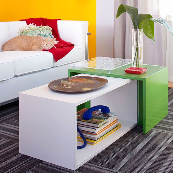 DIY contemporary coffee table - Lowe's ccreative ideasDiy Ideas, Coffeee End Tables, Coffee Tables, Add Colors, Painted Tables, Green Tables, Living Room, Painting Tables, Diy Coffee