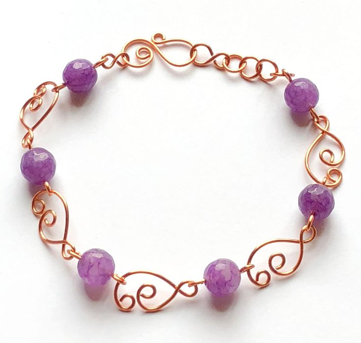 amethyst copper wire bracelet handmade wire design bracelet copper copper bracelet semi precious beads wire bracelet design amethyst bracelet - Beaded Bracelet Design Ideas