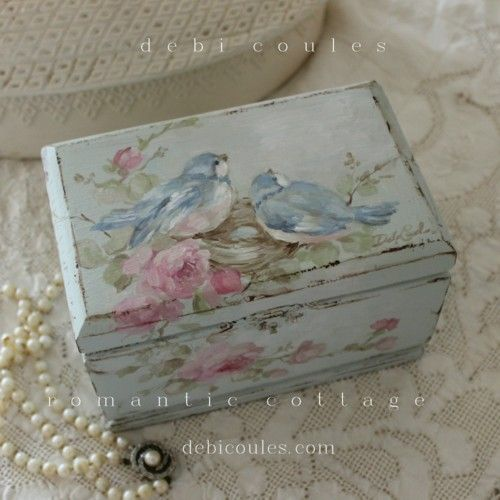 shabby bluebirds and roses