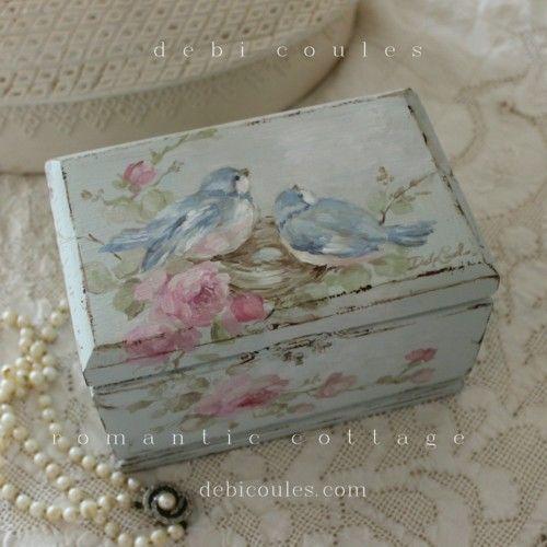 shabby bluebirds and roses