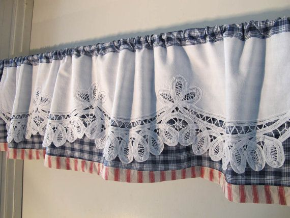 Battenburg Trim Valance Red White Blue Valance by BettyandBabs, $38.00