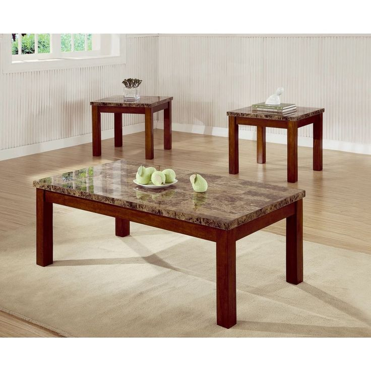 Cherry Coffee Table Set 3 Pc Faux Marble Rectangle Traditional #Coaster #Contemporary