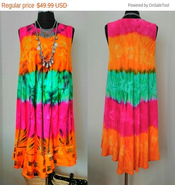 Rainbow Sun Dress   Boho Dress    RETRO Hippie Dress    Gypsy Bohemian Dress     Festival Sleeveless Maternity Embroidered Tie Dye Dress