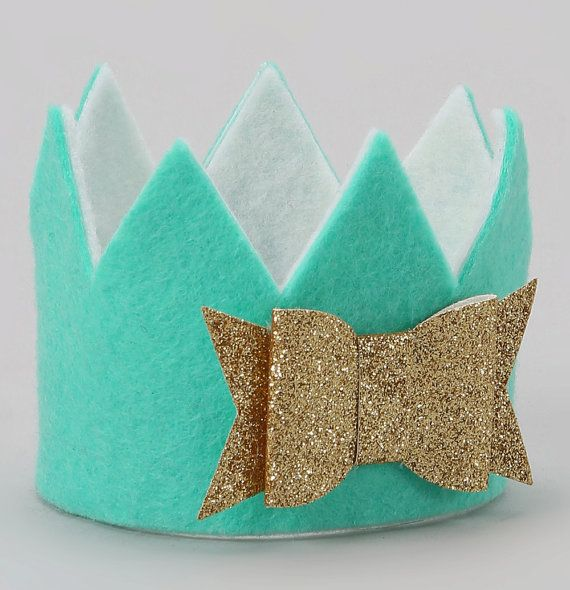 Mint and Gold Felt Crown by MollyJDesign on Etsy