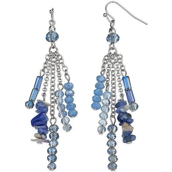 Simply Vera Vera Wang Blue Beaded Fringe Linear Drop Earrings ($11) ❤ liked on Polyvore featuring jewelry, earrings, blue, fish hook jewelry, drop earrings, beaded jewelry, blue color earrings and fish hook earrings