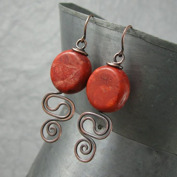 coral and copper wire earrings