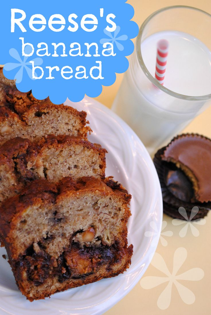 Something Swanky: desserts and designs.: Reese's Peanut Butter Banana BreadPeanut Butter Bananas, Reese'S Bananas, Bananabread, Recipe, Reese Peanut, Reese'S Peanut, Banana Bread, Bananas Breads, Peanut Butter