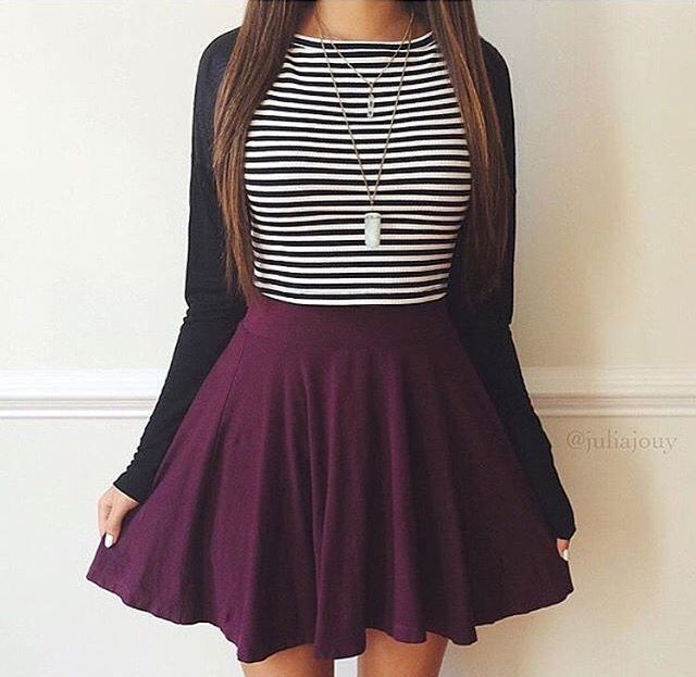 Cute fall outfit with purple skater skirt