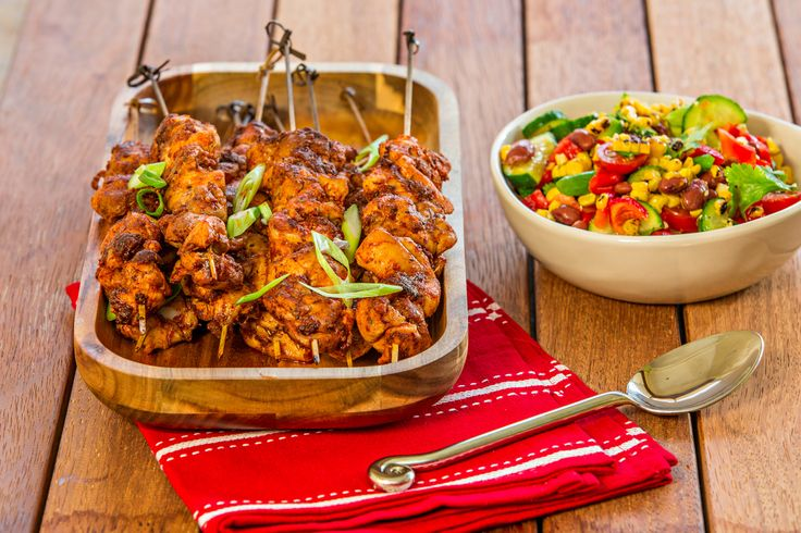 Photo of Portuguese Chicken Kebabs with Charred Corn Salsa