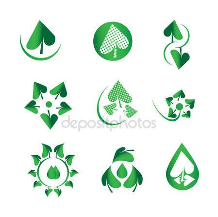 Vector shiny green leaf set, nature and ecology, green drops, water, biology, organic, natural logotype, leaf symbol icons — Stock Vector © NiMaGraphics #147394901