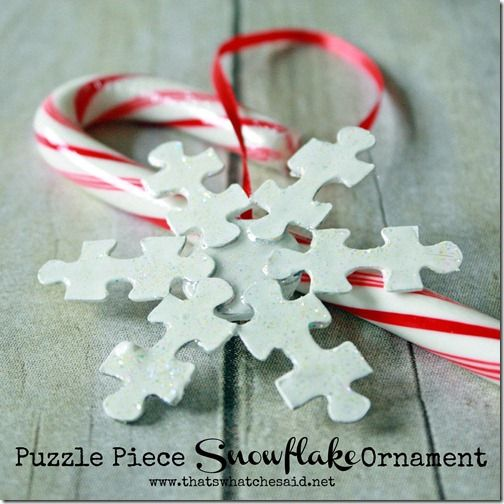 Puzzle Piece Snowflake Ornament at thatswhatchesaid.net #ornaments #puzzlepiece #christmas