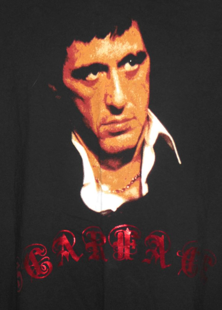 Al Pacino Scarface Movie T-Shirt Size 2XL XXL Red Foil Letters Gangster #DragonflyClothingCompany #GraphicTee