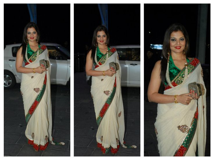 DEEPSHIKHA in white saree