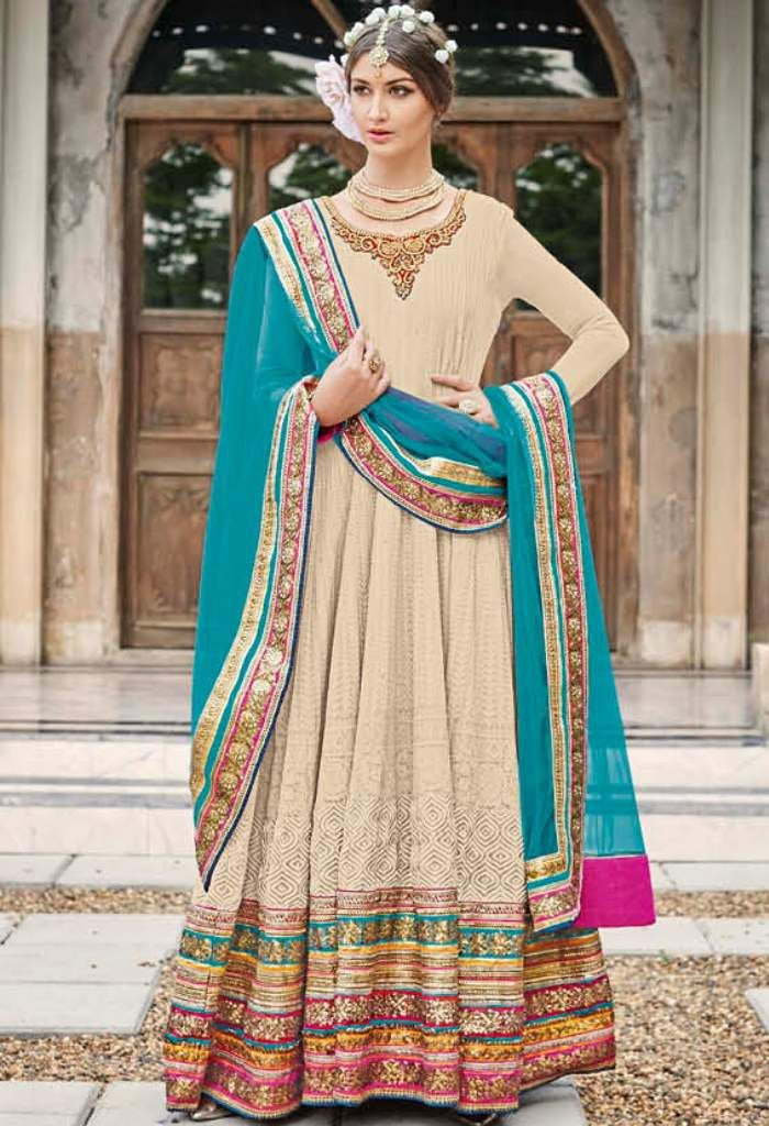 Cream Georgette Designer Lehenga With Embroidery Work 24002