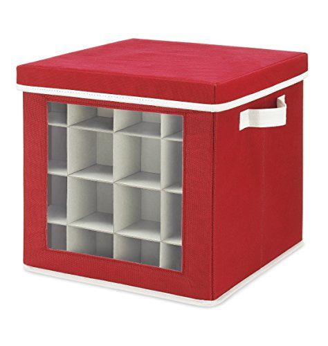 Whitmor Holiday Ornaments Storage Cube with 64 Individual Compartments - Made with Non-Woven Polypropylene Fabric - Transparent Cover for Easy Viewing - Removable Top and Convenient Handle - With a unique combination of utility and design,Whitmor brings to you their Holiday Ornaments Storage Box that is the perfect way of organizing your holiday trinkets this Christmas. Decorating the Christmas tree is a tradition that every family loves, but storing the ornaments in a huge box can m...