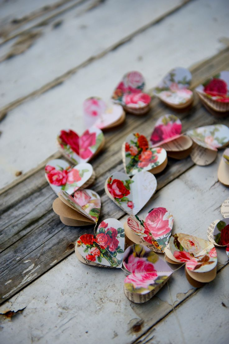 10 FEET garland RED ROSES Paper garland wedding by LaMiaCasa