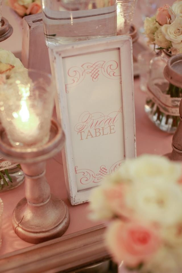 Table numbers in a frame. Our if course was the bridal table :)