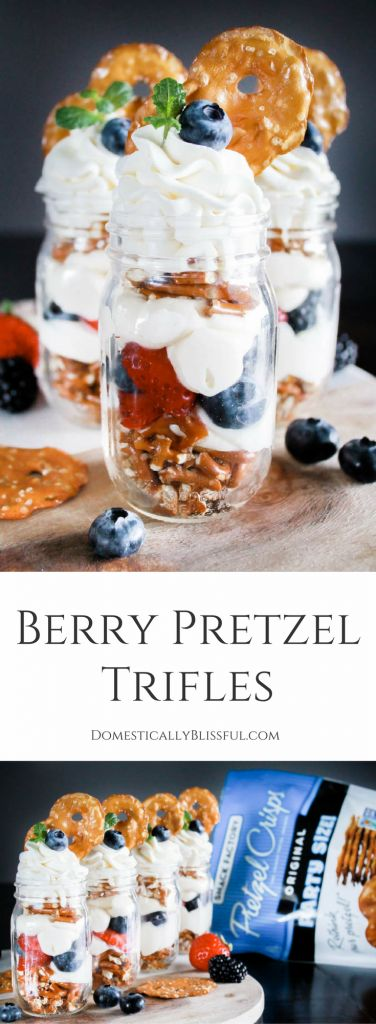 Berry Pretzel Trifles are a simple sweet & salty treat that is filled with fresh & creamy flavors! | #ad #SnackSnapShare #SnackStories | NO PURCHASE NECESSARY. Void where prohibited. 50 US/DC, 18+. Sweepstakes ends 7/11/17 at 11:59:59 PM ET. Rules: http://cbi.as/7tjcx. | berry trifle | fruit trifle | strawberry trifle | blueberry trifle | blackberry trifle | summer trifle | individual trifles | mini trifle | small trifle | summer snack | summer dessert | whipped cream cheese | whipped cream