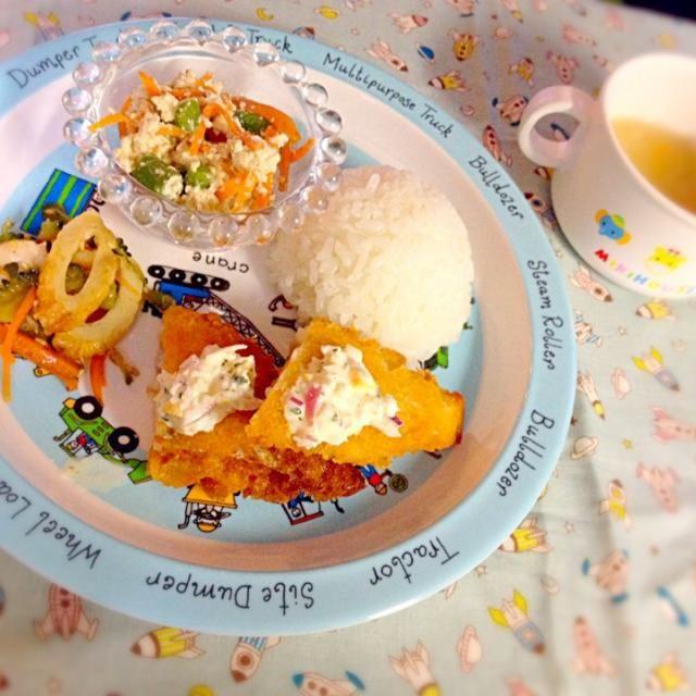 ・鱈のフライ ・ゴーヤとちくわのきんぴら ・インゲンの人参の白和え ・カボチャと玉ねぎの味噌汁 - 10件のもぐもぐ - 息子夕食 鱈のフライ by eri