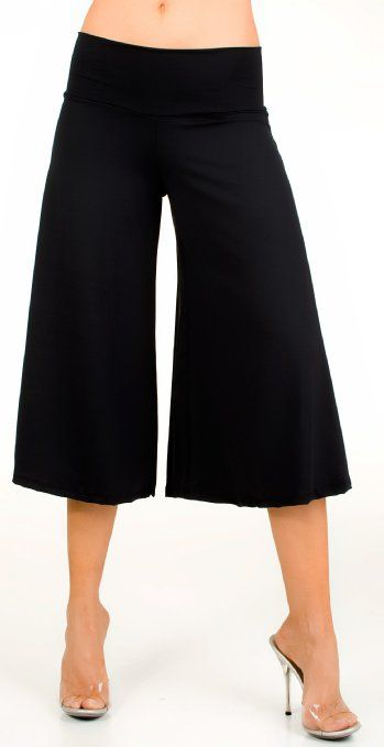 Amazon.com: Glam Attack Women's Stretch Gaucho Pants with Banded Waist from Shorts: Clothing