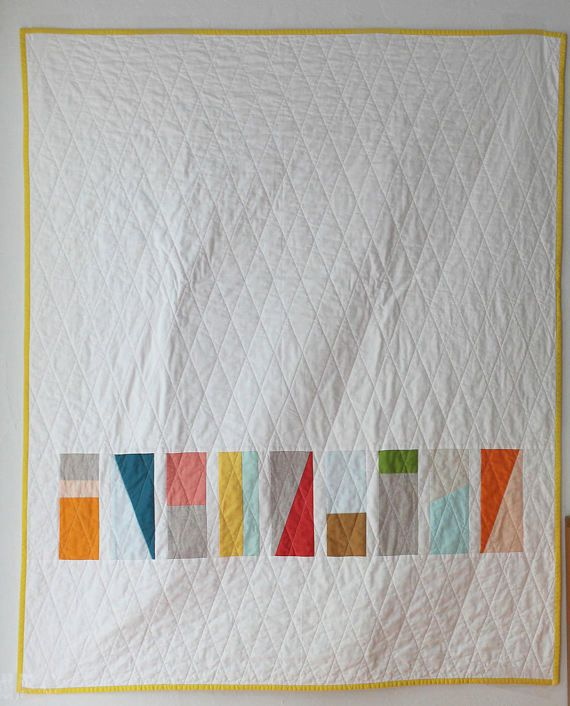 This modern geometric quilt pattern is great for beginners. Only basic quilting skills are needed to complete this quick and easy project. Finished quilt measures 41x50 inches--perfect for a crib or toddler bed Pattern calls for a variety of solid quilting cottons for the top. A great project for scraps! The pattern is written in easy to follow steps with tips for beginners and instructions for adapting the design to make your project unique. This quilt can be completed from start to fini...