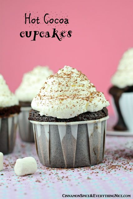 Hot Cocoa Cupcakes #desserts