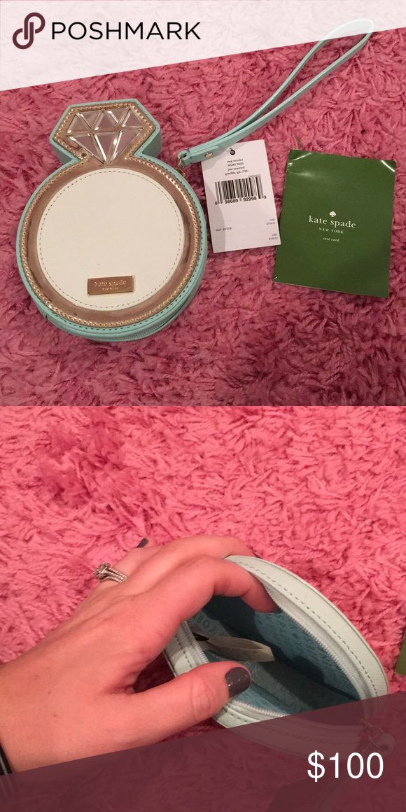 NWT KS Wristlet NWT Kate Spade Diamond Ring Wristlet! 💍 Bought this for my rehearsal dinner but never used it. Perfect for a rehearsal dinner bag or your honeymoon! This one pains me to sell but I know I will never use it now! kate spade Bags Clutches & Wristlets