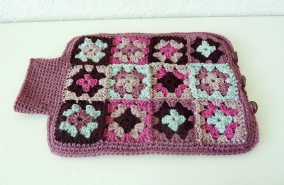 Crochet Hot Water Bottle Cover,  Hot Water Bottle Cozy, Granny Squares Cover