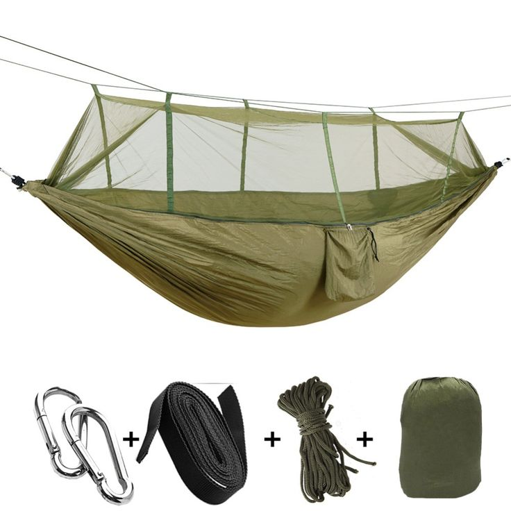1 2 Person Outdoor Mosquito Net Parachute Hammock Camping Hanging Sleeping Bed Swing Portable Double Chair Hammock With Mosquito Net Outdoor Hammock Hammock