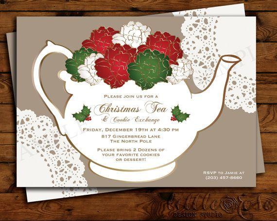 holiday tea party invitation christmas tea by littlerosestudio keep