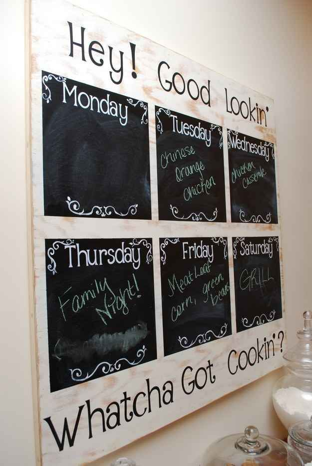 Make a simple weekly menu board using wood and chalkboard paint.