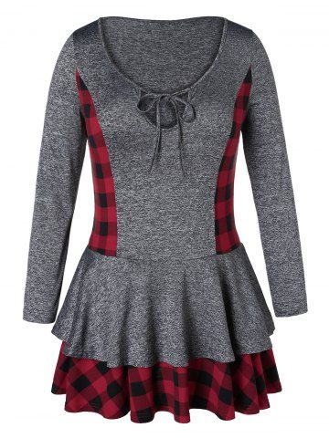 95e120c0c7347 Plus Size Plaid Layered Space Dyed T-shirt - CARBON GRAY - 3X