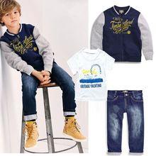 Nuovi ragazzi abbigliamento casual set dei vestiti dei ragazzi vestiti shirt + jeans + cappotto di baseball(China (Mainland))