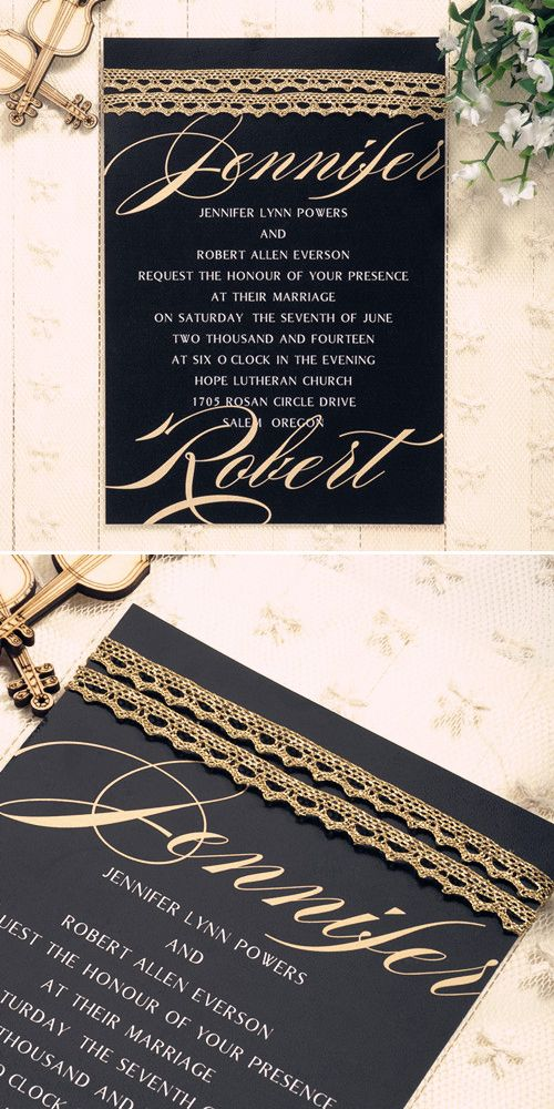 modern metalic gold simple wedding invitations EWLS036