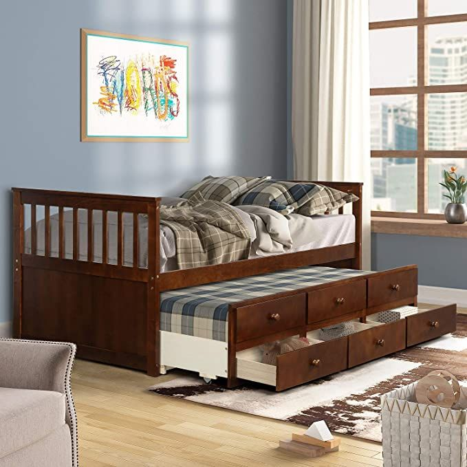 Pemberly Row Nightstand In Acorn Daybed With Storage Daybed With Trundle Bed Twin Daybed With Trundle Twin bed with storage and trundle