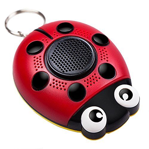 YORKING Portable Ladybug Shape Personal Emergency Panic Alert Keychain Safety SOS Alarm with LED Flashlight and Speaker Function for Girl Ladies
