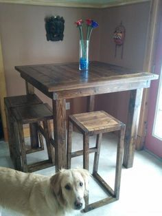 Pub style table   Do It Yourself Home Projects from Ana White  They are using it for an indoor table, but i think i would change the type of wood and make it for the deck.